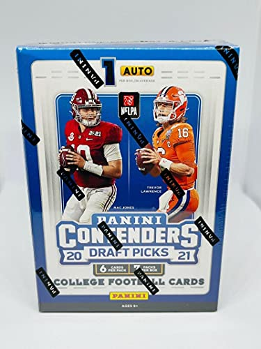 2021 Panini Contenders Draft Picks Collegiate Football Factory Sealed Box 42 Cards includes 1 Auto / Autograph Per Box On Average. Chase Rookie Cards of Trevor Lawrence (1st Overall Pick to Jacksonville), Zach Wilson (2nd to New York Jets), Trey Lance (3rd to San Francisco 49ers), Kyle Pitts (Atlanta Falcons), Ja'Marr Chase (5th to Cincinnati Bengals), Justin Fields (Chicago Bears) and Mac Jones New England Patriots. BONUS 3 CARDS OF YOUR FAVORITE TEAM, MUST MESSAGE CHOICE PRIOR TO SHIPMENT (Auto Autograph Card)