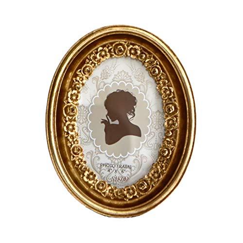 SIKOO Ovaler Vintage-Bilderrahmen, 10,2 x 15,2 cm, antiker Tisch- und Wandaufhängung, Fotorahmen mit Glasfront für Heimdekoration (Gold)