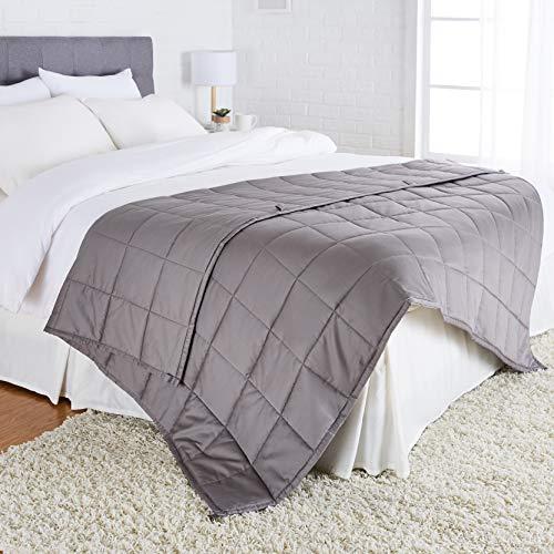 Amazon Basics Couverture lestée en coton, toutes saisons, 6,8 kg, 150 x 200 cm (grand lit/Queen size), gris foncé