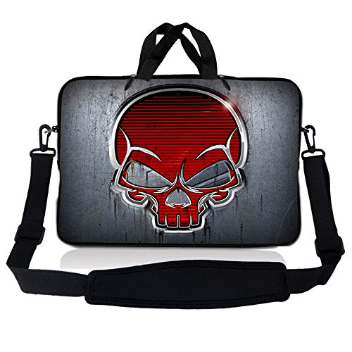 Laptop Skin Shop 15-15.6 inch Neoprene Laptop Sleeve Bag Carrying Case with Handle and Adjustable Shoulder Strap - Silver Red Skull