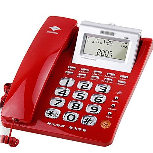 HTDZDX Teléfono de Escritorio con Cable con botón Grande teléfono con Cable, línea de Negocios – Rojo