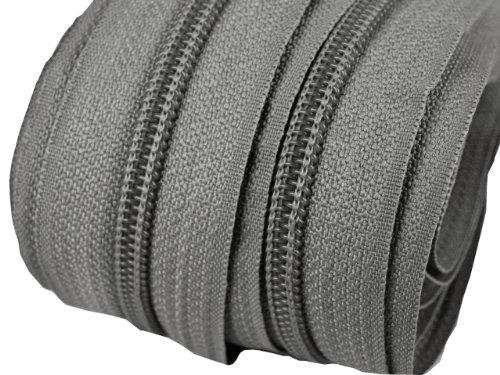 Schnoschi 2 m endlos Reißverschluss 5 mm Laufschiene + 5 Zipper Meterware teilbar Farbwahl (Mittelgrau)