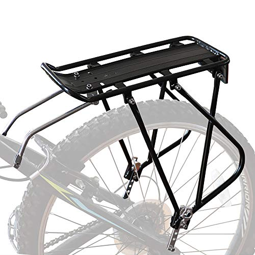 "Bike Cargo Rack w/Bungee Cargo Net & Reflective Logo Universal Adjustable Bicycle Rear Luggage Touring Carrier Racks 55lbs Capacity Quick Release Mountain Road Bike Pannier Rack for 26""-29"" Frames"