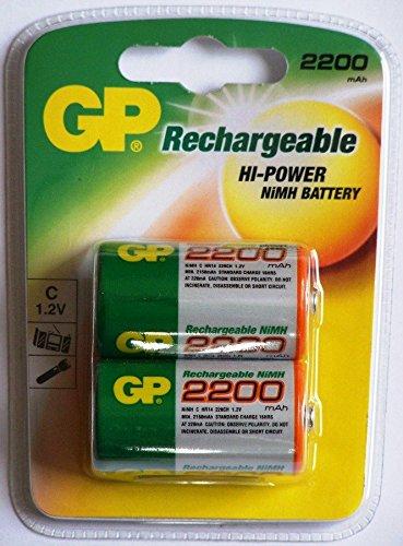 GP Wieder aufladbare Batterien, 2.200mAh, C-Typ, NiMH, 2er-Pack