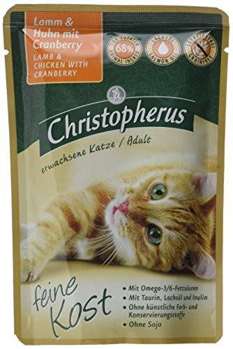Christopherus Alleinfutter für Katzen, Nassfutter, Erwachsene Katze, Lamm und Huhn mit Cranberry, 12 x 85 g Beutel