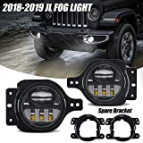 4 Inch Round Led Fog Light for Wrangler JL JLU with 2 Bracket 2018 2019