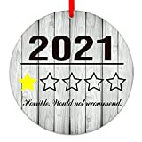 SICOHOME 2021 Funny Christmas Ornament,3' Rating Christmas Ornament,2021, Horrible Would not Recommend,One Star Review Christmas Ornament
