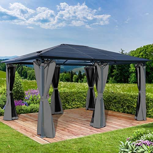 BRAST Alu-Pavillon Premium 3.6x4.8m grau festes Dach wasserdicht + Moskitonetz 2 Farben 3 Größen 16 Modelle