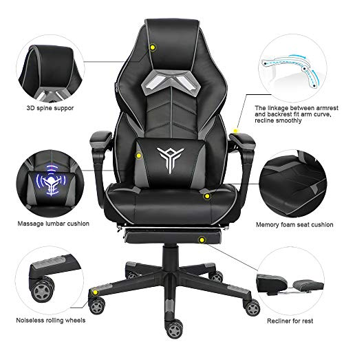 YOURLITEAMZ Racing Gaming Chair with Footrest and Massage Lumbar Pillow, Swivel Height Adjustable Reclining PU Leather Video Game Chair, E-Sports Gaming Chair Big and Tall (Grey) chairs Dining Features Game Kitchen Video