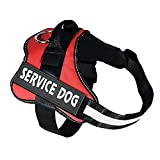 Red Large Service Dog Harness - Xl Dog Hiking Vest Harness Mesh Oxford Fabric, No Pull Best Girl Boy Harness For Big Dogs 55-66 Lb (red)