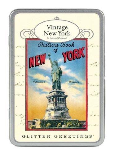 Callini - Pailletten ansichtkaart - Vintage New York - Tin of 12 ansichtkaarten - 6 designs/2 van Design