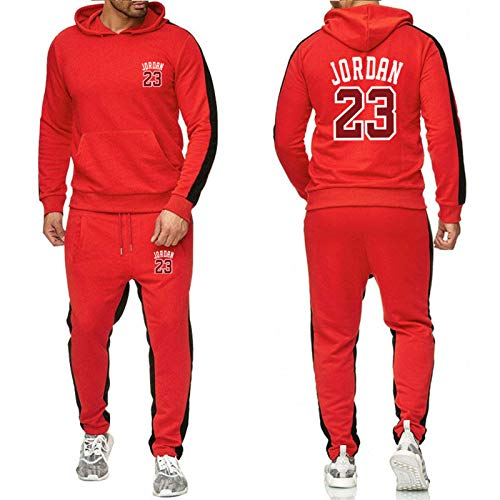 ZGRW 23# Jordan Baloncesto Uniforme De Chándal, Sudaderas Supportral Pendientes Sports Rousers Sports Traje Conjuntos Joggers Pantalones, Cómodo Traje Casual Red-XXL