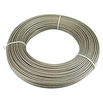Muzata Wire Rope Crystal Vinyl Coated Cable Galvanized Steel 1/8-Inch Thru 3/16-Inch165 Feet for Railing Decking Stair Balustrade Outdoors DIY,7x7 Strand WR07,Series WP1 WC1