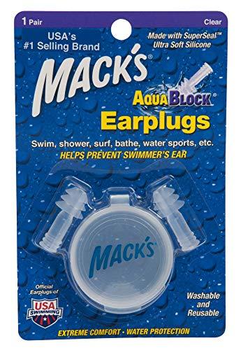 Macks Aqua Block - Tapones para los oídos para natación, Color Transparente, Talla 1 Pair