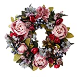 Artificial Rose Peony Flower Wreath - Newest Berry Flower Door Wreath with Green Leaves Spring Wreath for Front Door, Wedding, Wall, Home Decor, 13/16 Inch