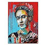 Banksy Pop Art Láminas Y Pósters Lienzo De Colores Frida Kahlo Retrato Pinturas Rojo Azul Pinturas Cuadros Del Realismo Para La Decoración Moderna De La Pared Del Hogar Sin Marco,Rojo,45×60cm