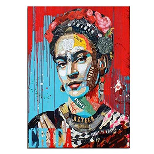 Banksy Pop Art Stampe D'arte E Poster Dipinti Colorati Su Tela Frida Kahlo Portrait Paintings Red Blue Paintings Immagini Realistiche Per La Decor Parete Casa Moderna Senza Telaio,Rosso,45×60cm