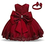 NNJXD Baby Girls Lace Dress Bowknot Flower Dresses Wedding Pageant Baptism Christening Tutu Gown Size (100) 18-24 Months #Red