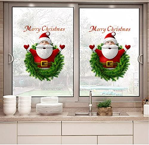 HUYHUY Bricolaje Santa Claus Feliz Navidad Etiqueta De La Pared Decoración Del Festival De Navidad Sala De Estar Ventana De Casa Puerta De Vidrio Pegatinas De Año Nuevo