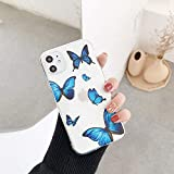 Ninetee Fashion Cute Butterfly Phone Cases for iPhone 11 Pro XR XS Max X Clear Soft TPU Back Cover for iPhone 7 8 Plus Transparent Case (S3, for iPhone 11)