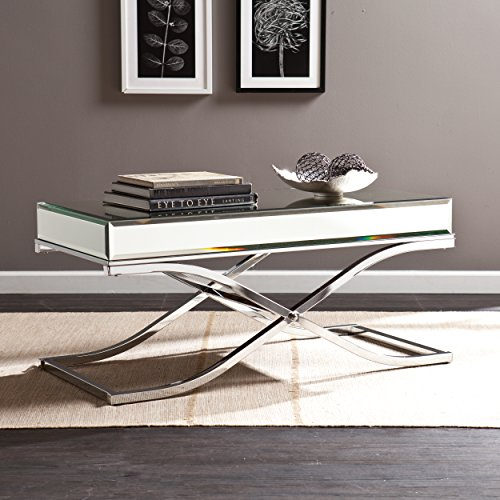 Ava Mirrored Console Table - Chrome Frame Finish - Contemporary Glam Style