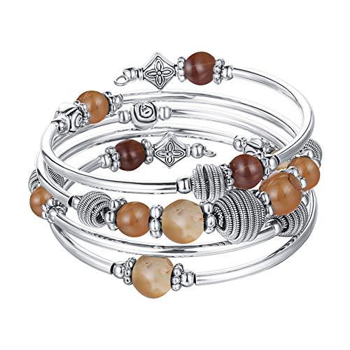 Pulsera enroscable de plata con perlas de piedra natural, estilo boho, varias capas, regalo de cumpleaños para mujeres, Plata Cobre Metal,