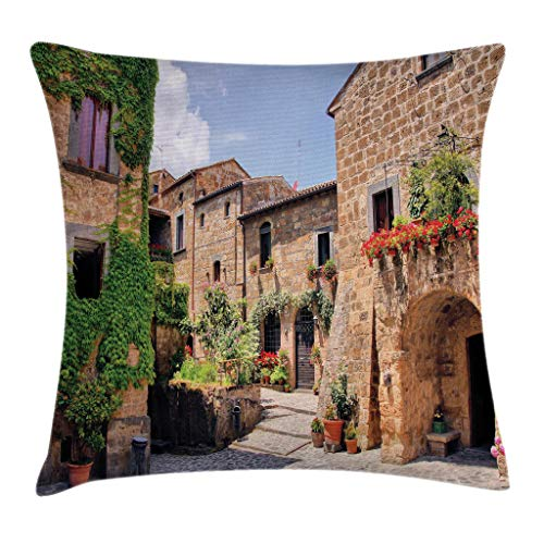 Ambesonne Farm House Decor Throw Pillow Cushion Cover by, Italian Streets in Countryside with Traditional Brick Houses Old Tuscan Prints, Decorative Square Accent Pillow Case, 20 X 20 Inches, Multi