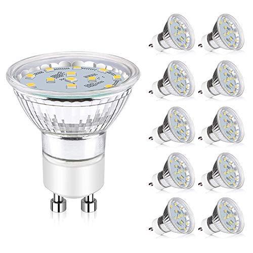 Lampadine GU10 LED, 380LM, 3,5W equivalenti a lampade alogene 50W, bianco daylight 6000K, corrente alternata 220-240 V, intensità dimmerabile, angolo fascio 120 °