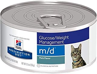 Hill's Prescription Diet m/d Glucose Weight Management Pork Flavor Canned Cat Food 24/5.5 oz