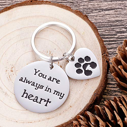 Pet Memorial Gifts Keychain for Pet Dogs Owner Dog Mom Dad Remembrance Memory Sympathy Gifts for Loss of Dog Pet Loss Gifts Keepsake for Dog Lover You are Always in My Heart Paw Print Keyring Photo #3