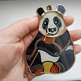 Cute Panda Bear Ornament, Stained Glass Suncatcer, Panda Theme Nursery Decor Kung Fu Panda, Zoo Animal Decor, Hand Painted Ornaments