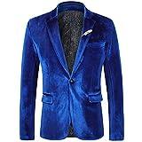 WEEN CHARM Men's Velvet Suit Jacket One Button Slim Fit Velvet Blazer Blue
