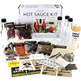 Premium Hot Sauce Making Kit, 5 Varieties of Peppers, Jalapeno Habanero, Gourmet Spice Blend, 4 Bottles, Fun Labels, Make your own hot sauce, Father's Day Gift for Dad