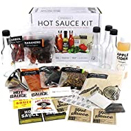 Premium Hot Sauce Kit, 5 Bags of Chili Peppers including Jalapeno, Gourmet Spice Blend, 4 Bottles, Fun Labels, Make your own hot sauce, for Mom, Dad, Papa, Cooking (Premium Kit)