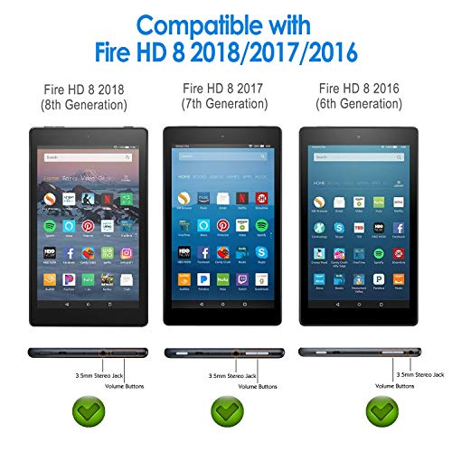 JETech Screen Protector for Amazon Fire HD 8 (2018, 2017 and 2016 Model), Tempered Glass Film