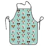 delantal inglés Bulldog para mujeres y hombres, delantal de cocinero, delantal ajustable para cocinar 20.5 × 28.3