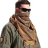 FREE SOLDIER Bufanda Militar Shemagh Tactical Desert Keffiyeh Bufanda de Cuello con Cabeza Bufanda árabe con Borla 43x43 Pulgadas,Marrón