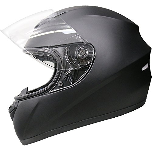 Leopard LEO-819 ECE 2205 Approved Full Face Motorbike Helmet Motorcycle Helmet - Matt Black M (57-58cm)