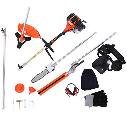 52cc 5 in 1 Brush Cutter Grass, Weeder Eater Hedge Trimmer Gas Cutter Petrol Hedge Trimmer Chainsaw Brush Cutter Garden Tools Included Extension Pole