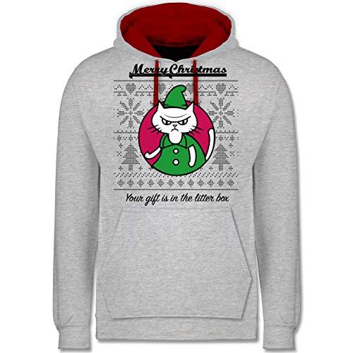 Weihnachten & Silvester - Cat Gift in The Litter Box - XS - Grau meliert/Rot - cat Gift - JH003 - Hoodie zweifarbig und Kapuzenpullover für Herren und Damen