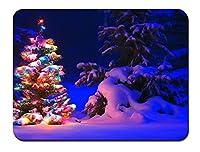 森、クリスマスのツリーに雪とライト パターンカスタムの マウスパッド 旅行 風景 景色 (22cmx18cm)