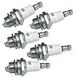 Lot de 5 bougies d'allumage de rechange pour débroussailleuses et tronçonneuses - Remplace Bosch WSR6F Bosch 0242240846 Champion RCJ6Y Dolmar 965603014 NGK BPMR6A NGK BPMR7A Stihl 11104007005