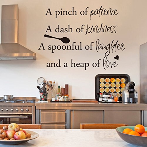 Inspirational Wall Sticker Quotes Words Art Removable Kitchen Dining Room Wall Decal Sticker Mural Vinyl Home Decor A Pinch of Patience,A Dash of Kindness.Small,Black