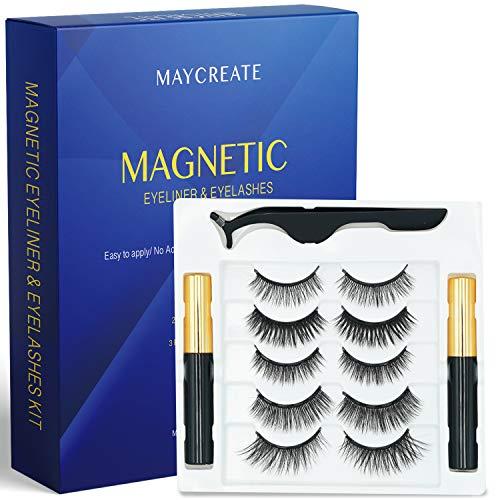 Creip Magnetic Eyeliner and Lashes Kit, Upgraded Waterproof Magnetic Eyeliner 5 Pairs Of Magnetic Eyelashes Eyeliner Long Lasting & Natural Look