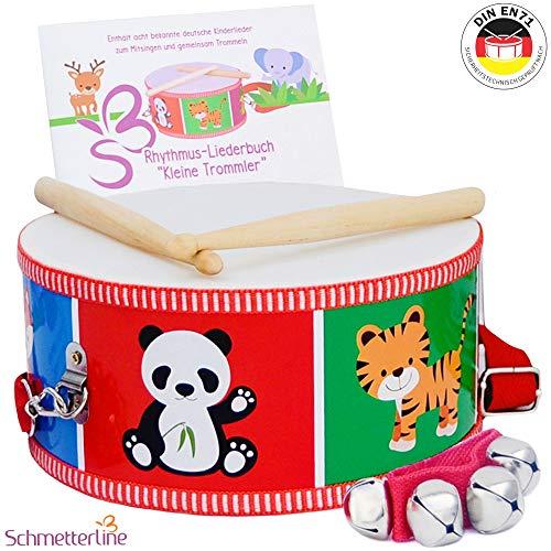 SCHMETTERLINE® Kindertrommel – Trommel aus Holz inkl. Glockenarmband und Trommelbuch – Musikinstrumente für Kinder ab 3 Jahren
