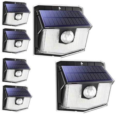 LITOM Solar Lights Outdoor, IP67 Waterproof Solar Powered Motion Sensor Lights 60 LEDs Wireless Solar Security Wall Lights for Front Door, Garden, Patio, Yard, Garage, Deck, Driveway 6 Pack Cold White