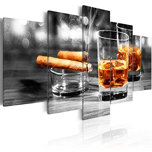 murando - Bilder 200x100 cm Vlies Leinwandbild 5 TLG Kunstdruck modern Wandbilder XXL Wanddekoration Design Wand Bild - Whisky Zigarre 030106-15
