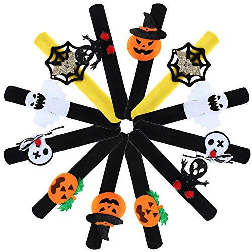 12 Pieces Halloween Slap Bracelets Spider Pumpkin Ghost Slap Bands Wrist Slap Accessory for Halloween Birthday Party Favors