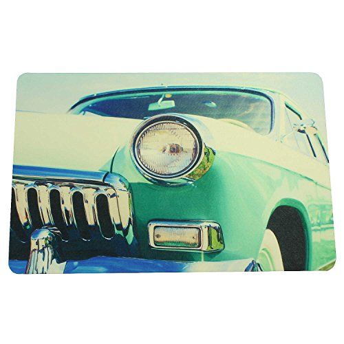 Sanixa PA32059 Vintage antislip badmat US CAR Retro Auto Groen | 60 x 40cm | extra dun | badkamertapijt mat douchemat | Sneldrogend