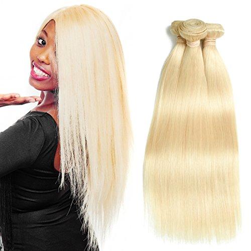Wellmi 613 Blond Tissage trames brésiliens vierges Cheveux humains Grade 8 A Extensions de cheveux soyeux double droite Trame pour femme 300 g/Lot, 10 12 35,6 cm